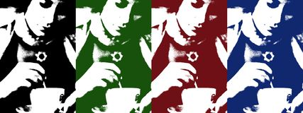 Pop art of woman with coffee cup. Pop art of young woman with coffee cup royalty free illustration