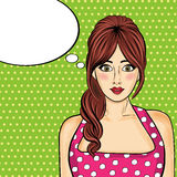 Pop art  woman . Comic woman with speech bubble Royalty Free Stock Images