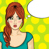 Pop art  woman . Comic woman with speech bubble Stock Photo