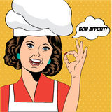Pop art woman cook Stock Image