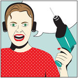 Pop Art Woman with drill Royalty Free Stock Photo