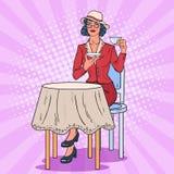 Pop Art Woman Drinking Tea in Cafe. Coffee Break. Vector illustration Stock Images