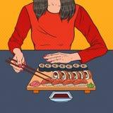 Pop Art Woman Eating Sushi at the Asian Restaurant. Japanese Food. Vector illustration Royalty Free Stock Photos