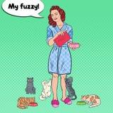 Pop Art Woman Feeding Her Cats Huisdier care vector illustratie