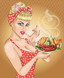 Pop Art woman with foog plate. Pin-up girl, BBQ, sausage. Fashion, wife, stock illustration