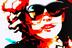 Pop Art Woman with Glasses Stock Images