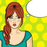 Pop Art Woman Grappige vrouw met toespraakbel Stock Foto