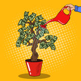 Pop Art Woman Hand with Can Watering Money Tree Stock Image