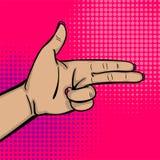 Pop art woman hand show bang gun finger Stock Photos