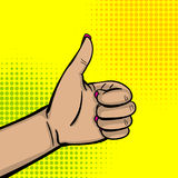 Pop art woman hand show thumb up finger. Pop art comic text cartoon cool woman knuckle hand show finger thumb up. Human girl wow ok, good poster halftone dot Royalty Free Stock Photo