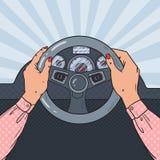 Pop Art Woman Hands on Car Wheel. Safe Driving. Vector illustration Stock Photo