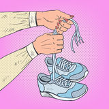 Pop Art Woman Hands Holding Running Shoes. Sneakers Footwear Royalty Free Stock Photo