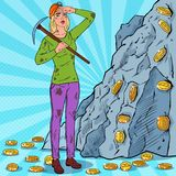 Pop Art Woman in Helmet with Pickaxe Mining Bitcoin Coins. Crypto Currency Blockchain Network Technology Royalty Free Stock Images