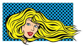 Pop art woman illustration Royalty Free Stock Photography