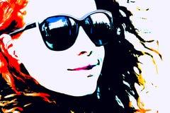 Pop Art Woman med exponeringsglas Fotografering för Bildbyråer