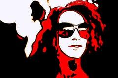 Pop Art Woman med exponeringsglas Royaltyfri Foto