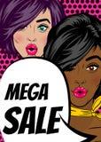 Pop art woman Mega sale banner speech bubble Royalty Free Stock Photography