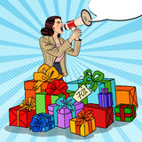 Pop Art Woman with Megaphone Promoting Big Sale Standing in Gift Boxes Stock Images