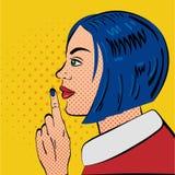 Pop Art Woman met stiltegebaar Stock Foto's