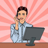 Pop Art Woman Operator Consulting Client on Hotline. Vector illustration Stock Photography