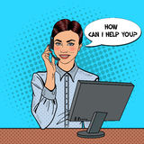Pop Art Woman Operator Consulting Client on Hotline. Vector illustration Stock Image