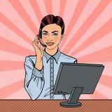 Pop Art Woman Operator Consulting Client op Hotline vector illustratie