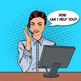 Pop Art Woman Operator Consulting Client op Hotline royalty-vrije illustratie