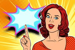 Pop art woman pointing finger up. Retro vector illustration Royalty Free Stock Photo