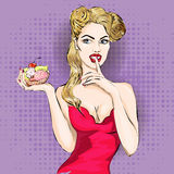 Pop art woman portrait with cupcake or ice cream Stock Images