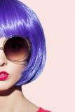 Pop Art Woman Portrait Wearing Purple Wig. Stock Photography