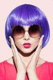 Pop Art Woman Portrait Wearing Purple Wig. Stock Photos