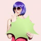 Pop Art Woman Portrait Wearing Purple Wig And Sunglasses. Stock Photography