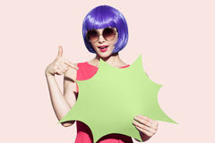 Pop Art Woman Portrait Wearing Purple Wig And Sunglasses. Royalty Free Stock Image