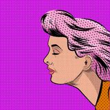 Pop Art Woman in Profile Vector illustration Royalty Free Stock Photo
