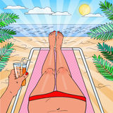 Pop Art Woman Relaxing on the Beach. Bikini Tropical View. Vector illustration Stock Image