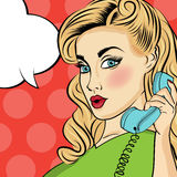 Pop art woman with retro phone Stock Photos