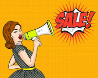 Pop Art. Woman, SALE, discounts, sign. vector illustration. Stock Photo
