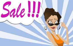 Pop Art Woman SALE sign. Stock Images