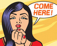Pop art woman shows came here gesture. Beauty young woman calling you to come here gesturing with finger, pop art illustration of a sexy girl Royalty Free Stock Photography