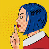 Pop Art Woman with silence gesture. Pop Art Style. Retro style woman put her finger to her lips.Vector illustration stock illustration