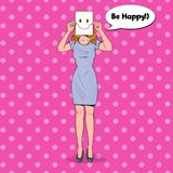 Pop Art Woman with Smiley Emoticon on Paper Sheet. Happy Girl Holding a Smiling Face Emoticon Stock Photography
