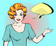 Pop art woman with speech bubble, pin up retro style woman. Smiling woman pointing finger showing copy space. Vector illustration with a speech bubble. Party Royalty Free Stock Images
