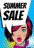 Pop art woman Summer sale banner speech bubble Royalty Free Stock Photos
