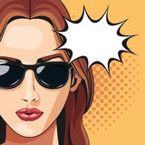 Pop art woman sunglasses bubble speech dotted background Stock Images