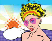 Pop Art woman with sunglasses on the summer beach, comic style. Blond vintage girl face with speech bubble, sun and Stock Images
