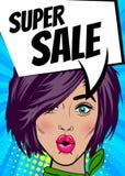 Pop art woman Super sale banner speech bubble Royalty Free Stock Photography
