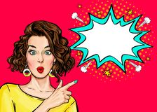 Pop Art Woman surprise showing product .Beautiful girl with curly hair pointing to on bubble