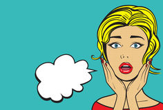 Pop art woman. Surprised woman face with open mouth. Pop art  illustration. Wow! bubble Stock Image