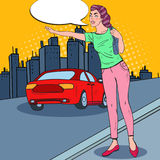Pop Art Woman Trying to Catch a Car in the City Road Stock Photos