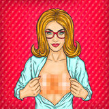 Pop art woman unbuttoning blouse and shows naked breasts Royalty Free Stock Photos